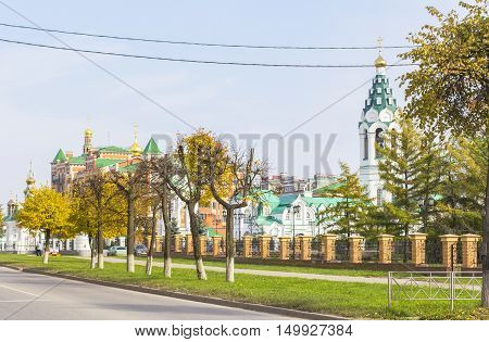 background cityscape view of the Orthodox Church in the center of Yoshkar-Ola, Mari El, Russia