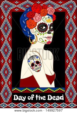 Dia de los Muertos card with calavera woman and sugar skull