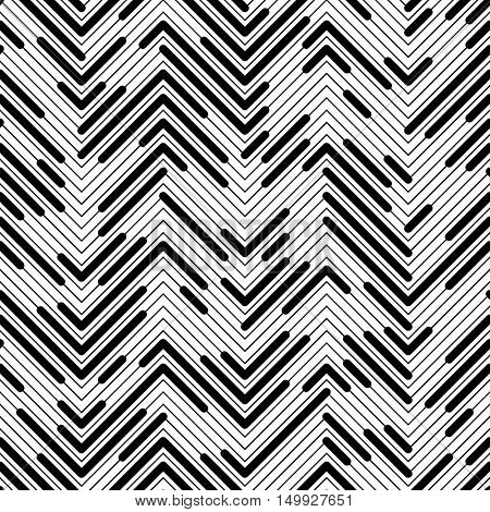 Seamless Chaotic Zig Zag Pattern. Abstract Monochrome Chevron Background. Vector Regular Line Texture