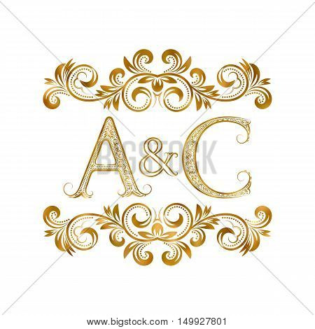 A&C vintage initials logo symbol. Letters A C ampersand surrounded floral ornament. Wedding or business partners initials monogram in royal style.