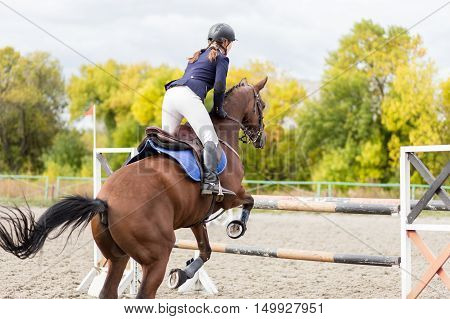 Young rider girl on horse jumping over obstacle on her course in competition. Equestrian sport show jumping image with copy space