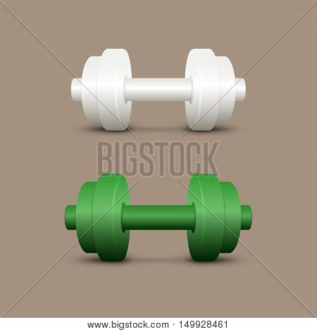 White and green dumbbells. Set on a brown background. EPS-10. Mesh gradient (shadow) and transparency was used.