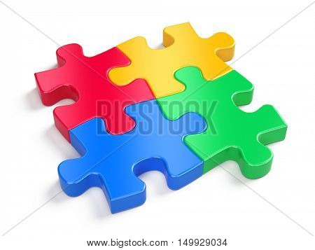 Four colorful puzzles isolated on white - partnership concept. 3d render
