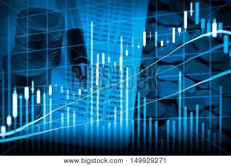 Graph Of Stock Market Data And Financial With The View From Led Display Concept That Suitable For Ba