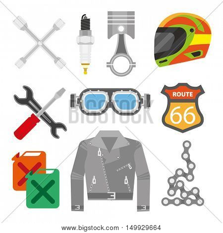Vector set of motorcycle accessories. Design elements and icons: helmet and jacket, oil canister and chain, piston and spark plug. Flat style. Isolated illustrations on white background.