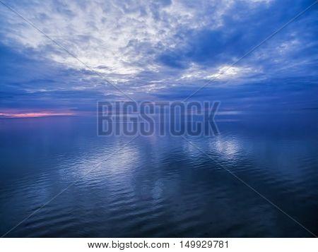 Blue Dusk Over Ocean