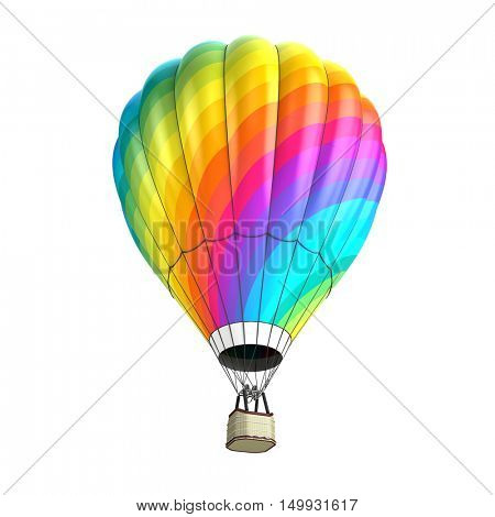 hot air balloon isolated on white - 3d illustration