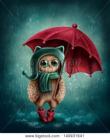 Illustration of owl with umbrella