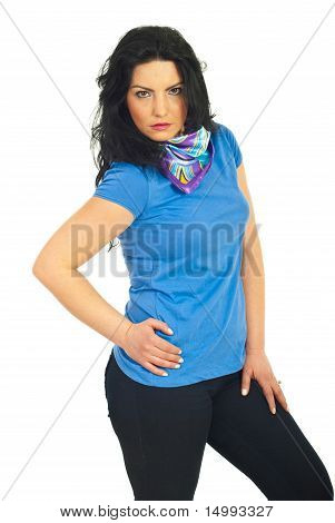 Casual Woman Posing In Blank T-shirt