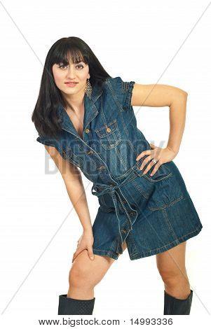 Beauty Woman Posing In Denim Dress