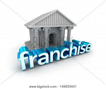 Franchise text 3d Concept isolated on white