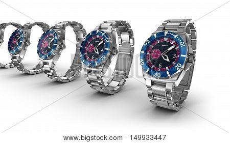 Mechanical wrist watches. My own design,3D render