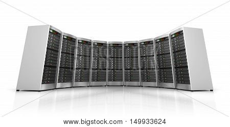 Row of network servers in data center isolated on white background 3d