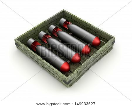 Torpedoes in the box over white background 3d