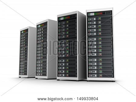 Row of network servers in data center isolated on white background
