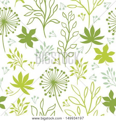 Seamless pattern, flowers and leaves