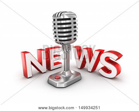 News text and microphone 3d Concept , over white