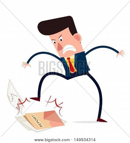 young businessman get angry and trample down business report
