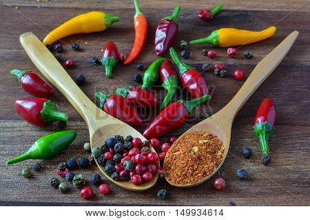 Very hot staff in the kitchen freshly picked up red yellow and green chili and two wooden spoons full of black and red pepper and dried chili