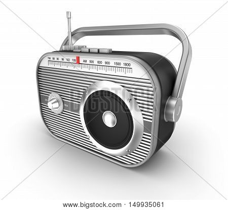 Retro radio over white, isolated on white