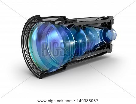 Sectional camera lens view, isolated on white
