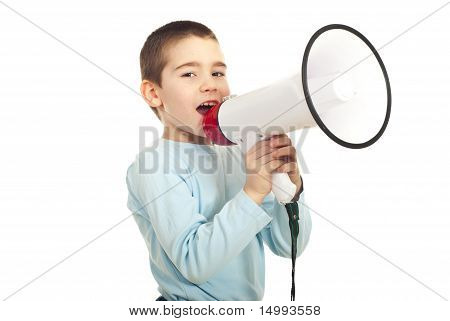 Garoto menino gritar megafone