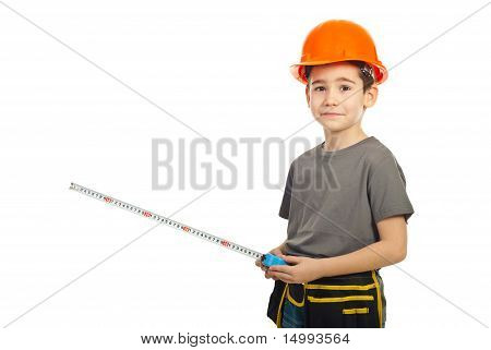 Confused Boy Holding Ruler