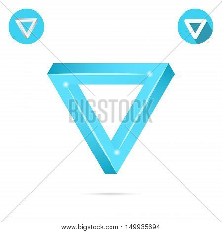 Delta figure sign pyramid shape with illusion effect 3d vector illustration on white background eps 10