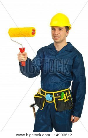 Young Painter Man Holding Paint Roller