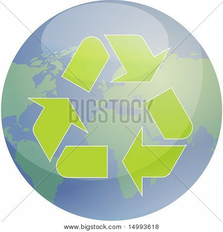 Recycling eco symbol illustration of three pointing arrows over world globe map