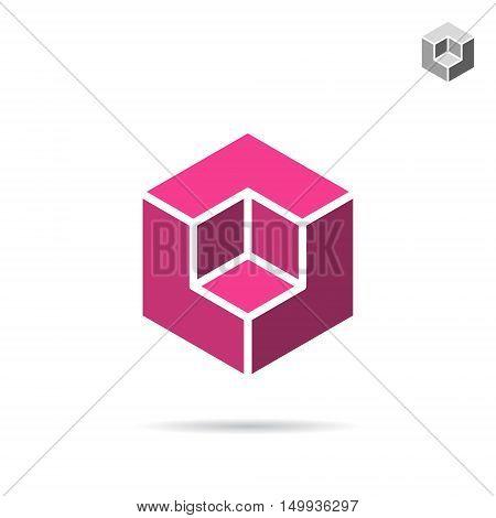 Isometric cubic shape 3d vector cube logo isolated on white background eps 10