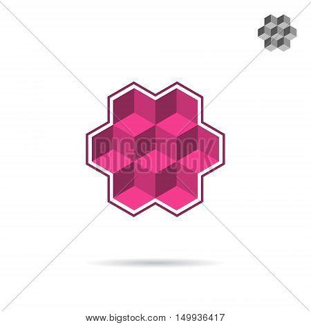 Isometric wall segment cubic logo 3d isometric vector illustration isolated on white background eps 10