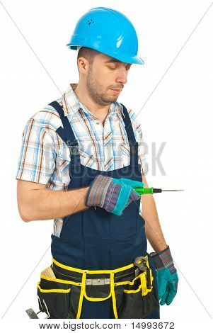 Repairman Holding Screwdriver