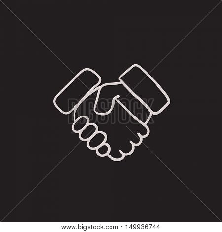Handshake and successful real estate transaction vector sketch icon isolated on background. Hand drawn Handshake icon. Handshake sketch icon for infographic, website or app.