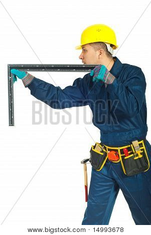 Worker Man Measure With L Square Ruler