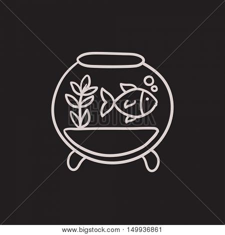 Fish in aquarium vector sketch icon isolated on background. Hand drawn Fish in aquarium icon. Fish in aquarium sketch icon for infographic, website or app.