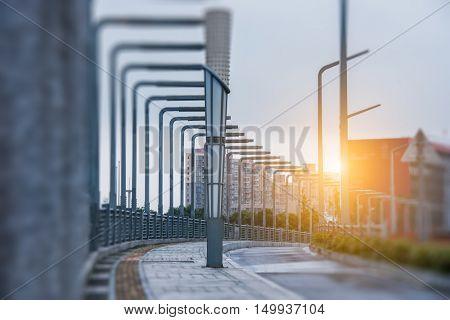 street with row of streetlights