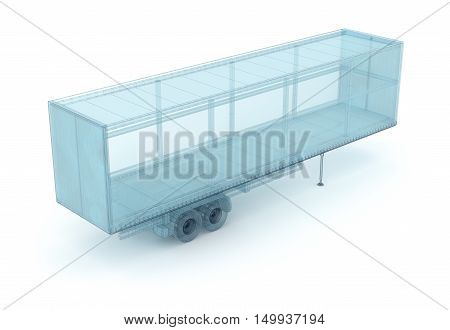 Cargo container wire model. My own design 3D illustration