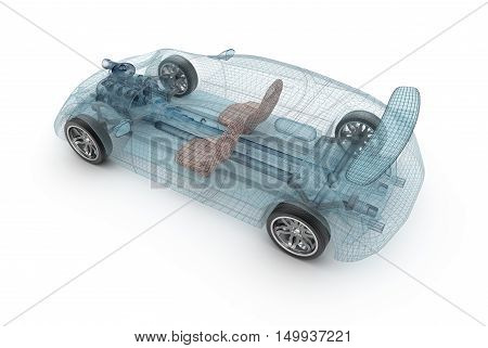 Transparent car design wire model. 3D illustration. My own car design.