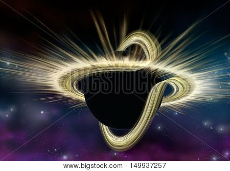 Black hole star in deep space Physically accurate 3D illustration