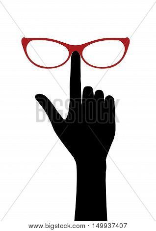 vector image silhouette hand with glasses, illustrate style flat