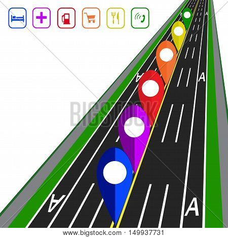 Road infographics. GPS navigator. Direct road highway with markup. Dedicated lanes for public transport. Vector illustration