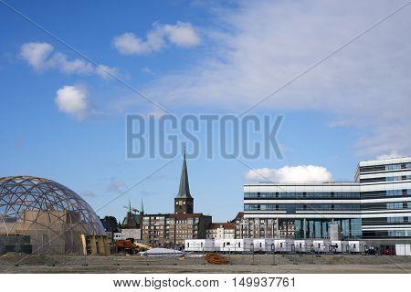 AARHUS DENMARK - SEPTEMBER 18 2016: Dome of Visions building site. Modern architecture on Aarhus Dockland - Aarhus will be European capital of culture in 2017. September 18 2016