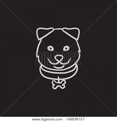 Dog head vector sketch icon isolated on background. Hand drawn Dog head icon. Dog head sketch icon for infographic, website or app.