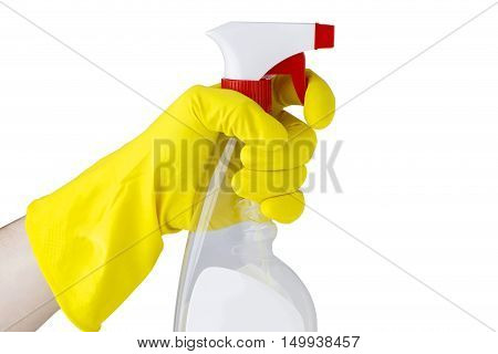spray with detergent in hand on a white background