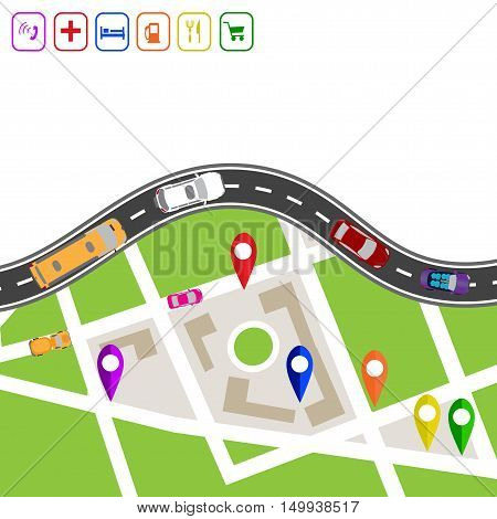 Road infographics. Winding road with markers on the map terrain. Explanations in the upper left corner. Displaying traffic car vector illustration