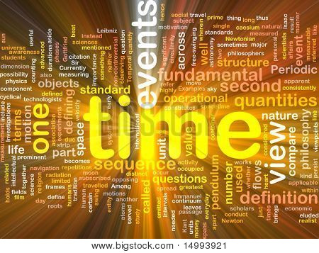 Background concept wordcloud illustration of Time events structure glowing light
