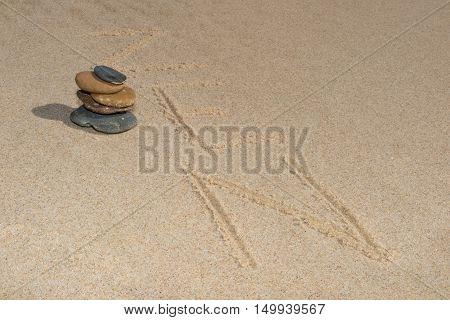 Zen Stone In The Sand Written . Background