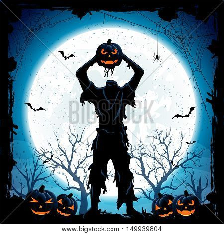 Monster with head of Halloween pumpkin and Jack O Lanterns, blue night background with full Moon, illustration.