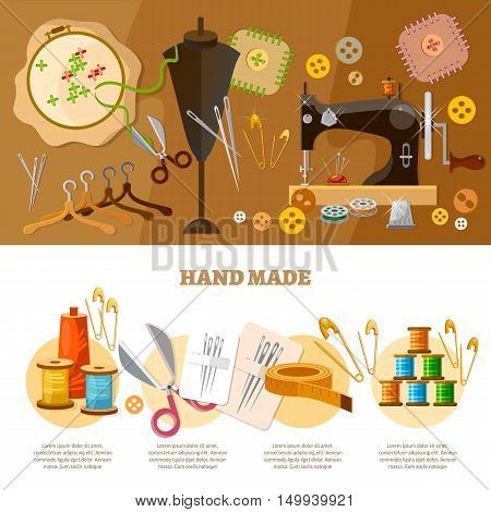 Tailor infographics hand made concept tailoring tools fashion houses atelier clothing vector illustration